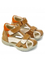 Hokide® Sandale piele Bej-Alb