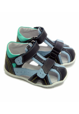 Sandale piele Hokide Bleumarin-verde