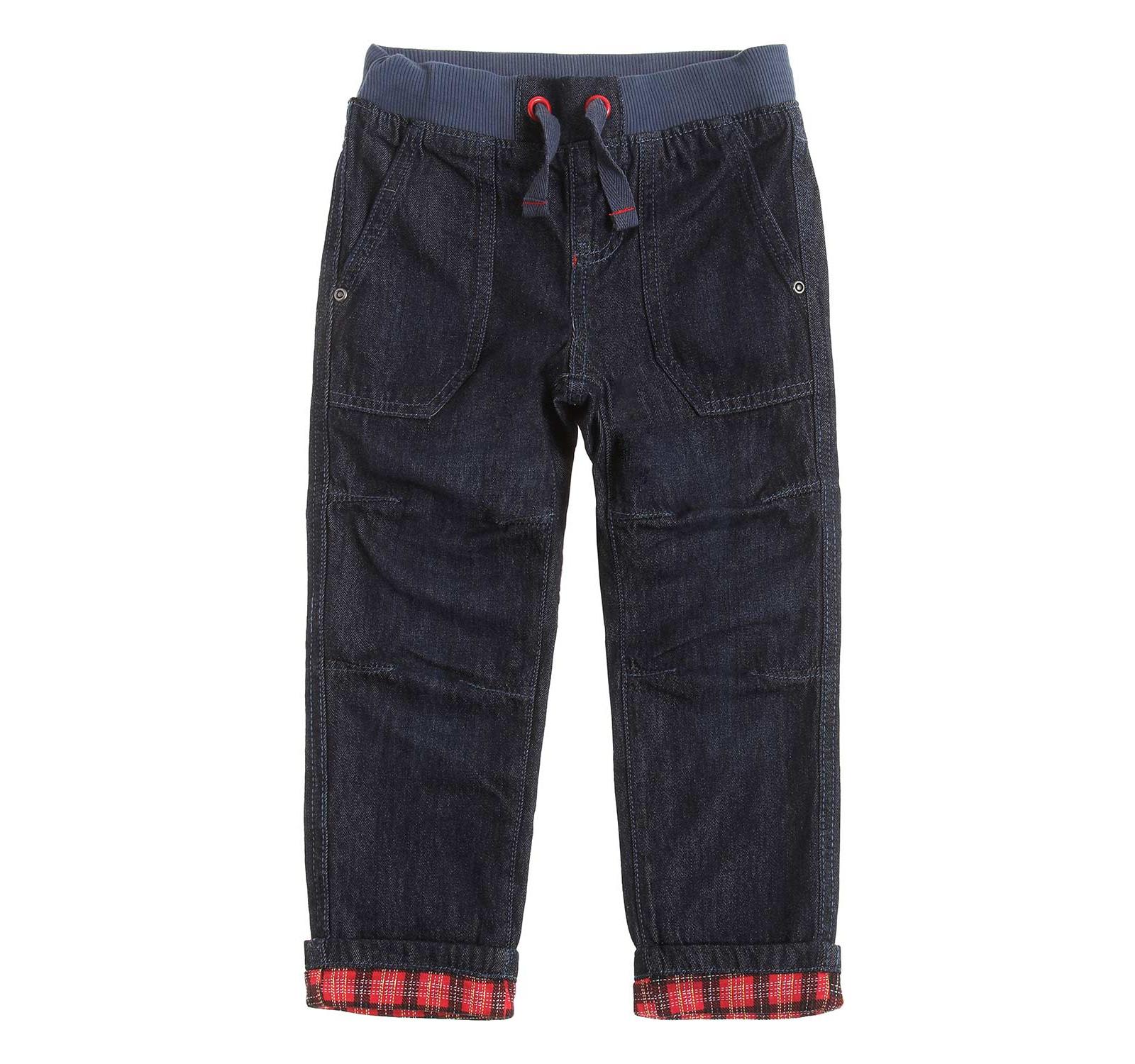 Pantaloni Denim, dublati Bleumarin