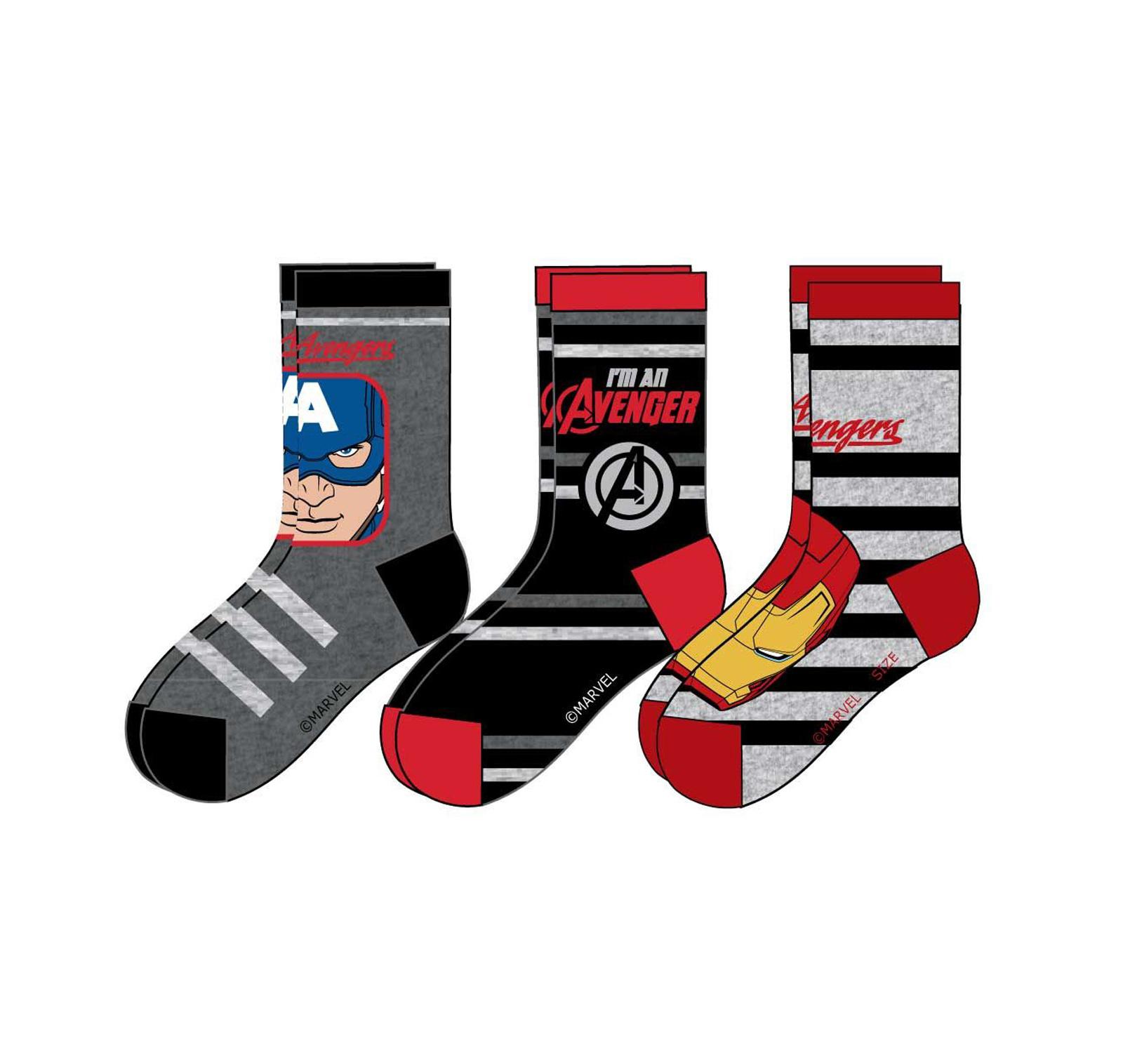 Avengers® Set 3 sosete Rosu mix