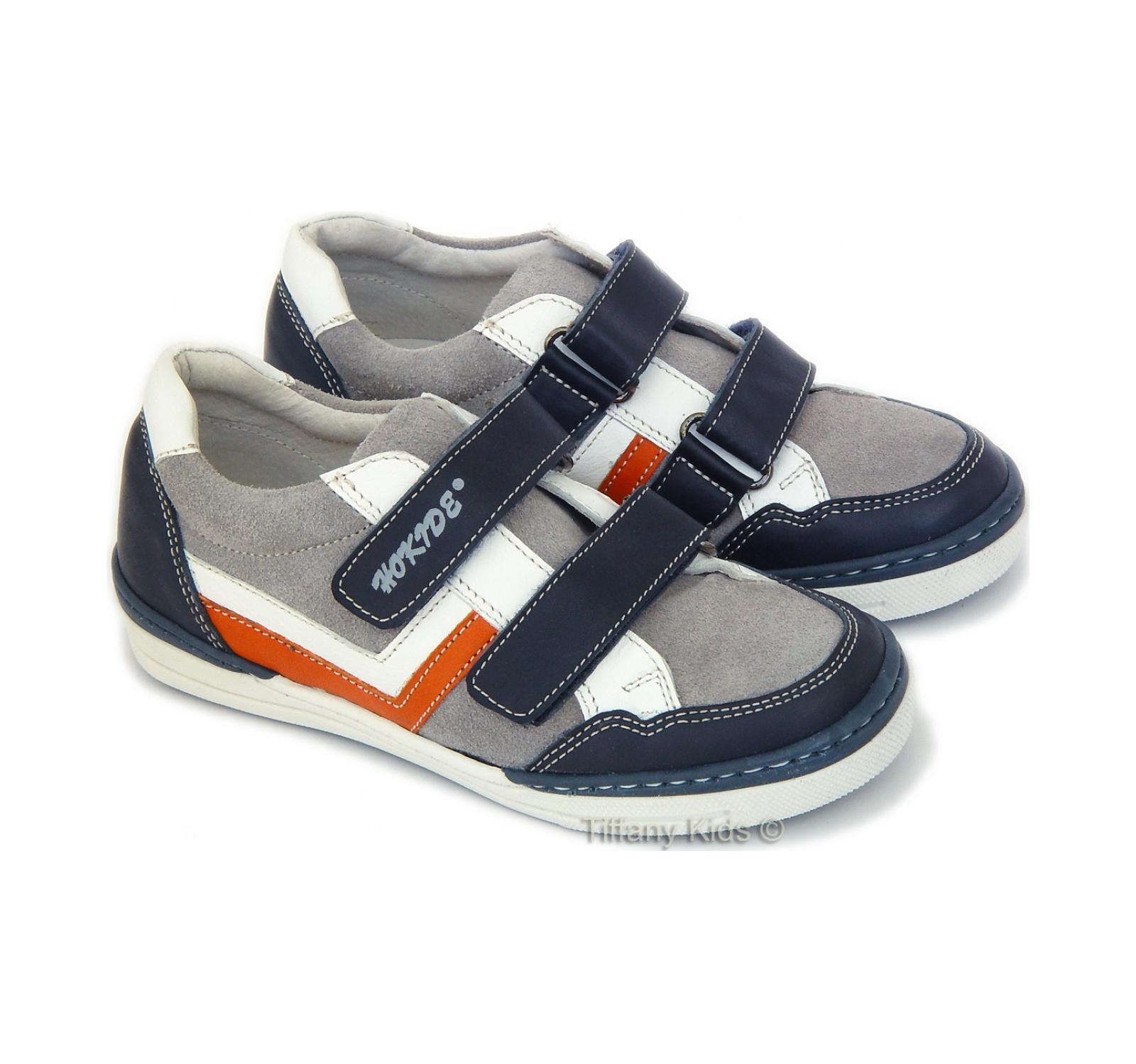 Hokide® Pantofi piele Gri oranj