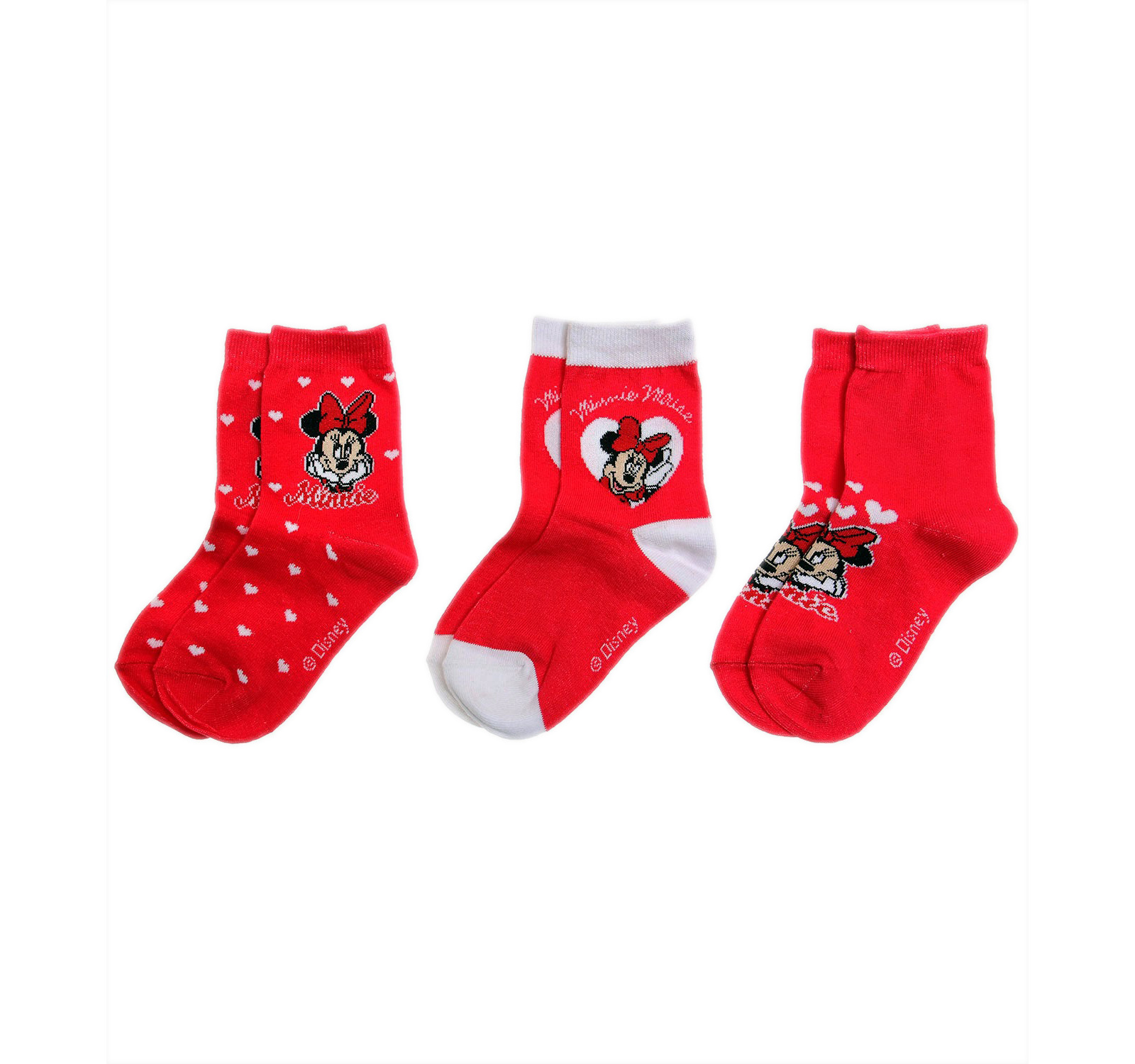 Minnie® Set 3 sosete (23-38) Rosu