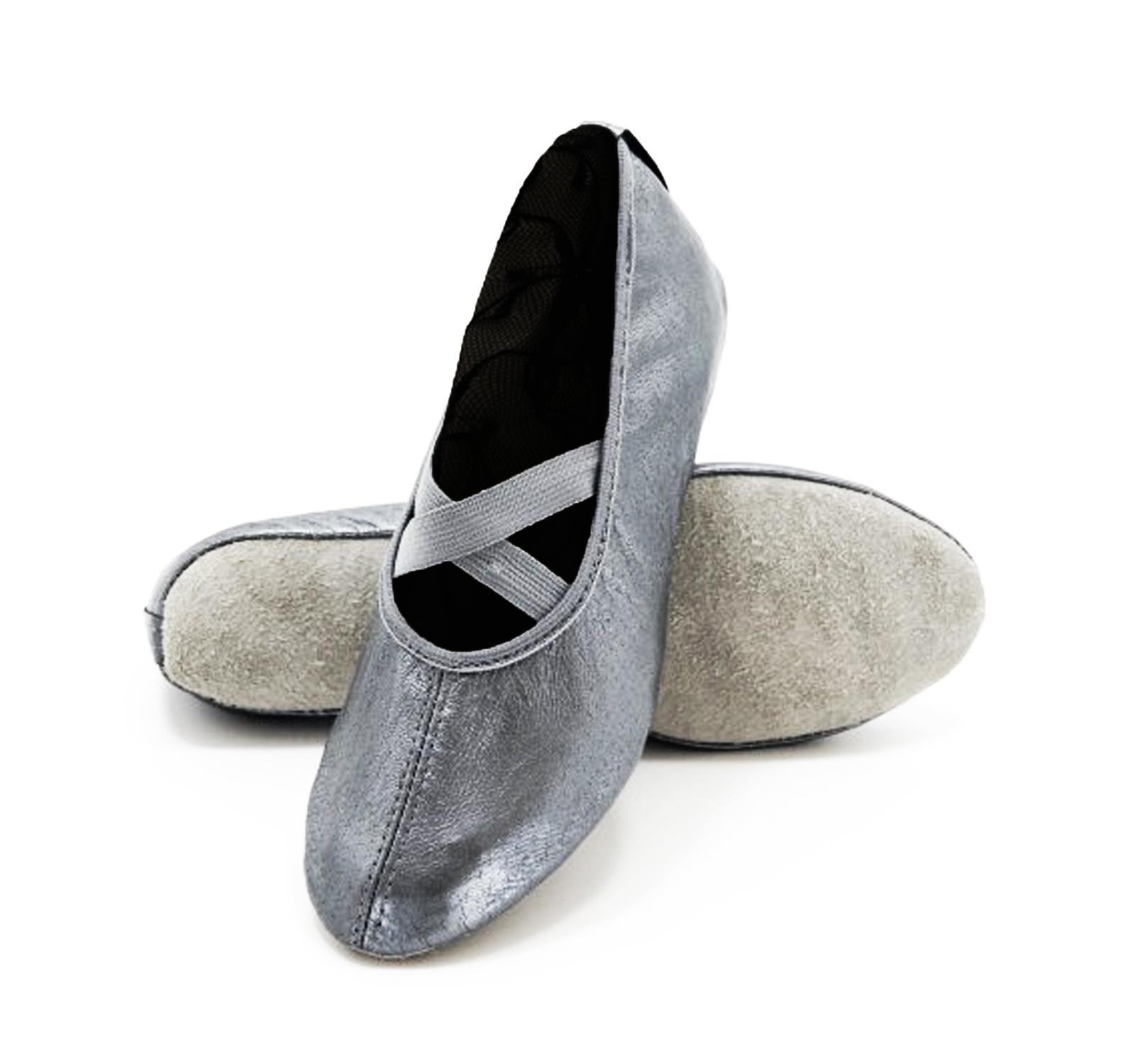 Balerini-flexibili piele naturala gim & dans Argintiu grafit