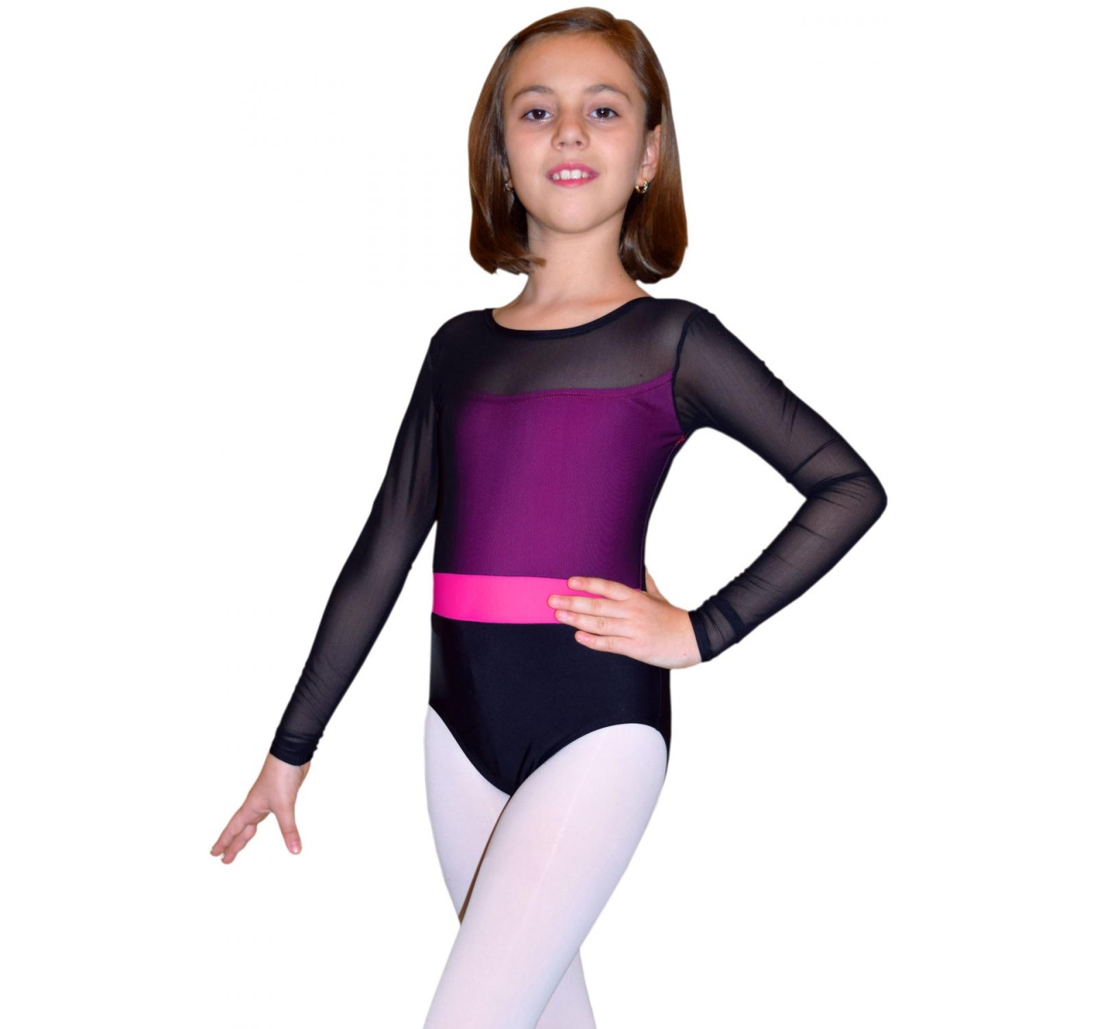 Body gimnastica & dans Negru Spandex 1604