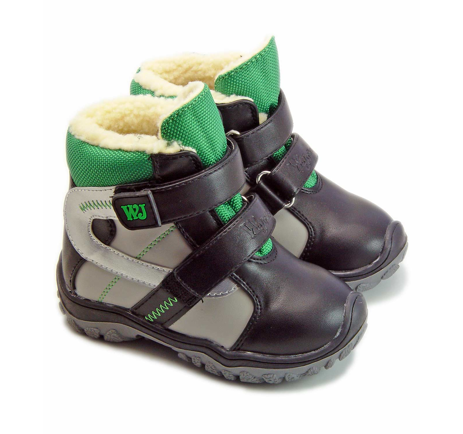 Wojtylko® Ghete piele eco imblanite gri-verde 200881